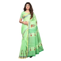 Green Colored Poly Silk Printed Casual Wear Saree