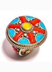 Tribal Afgani, Nepali, Tibatti Hand Made Sterling Silver Plated Ring
