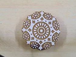 Round Shape Floral Pattern Wooden Printing Blocks