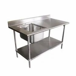 Galvanized Stainless Steel Sink Table, Sink Shape: Square, Number Of Sinks: 1