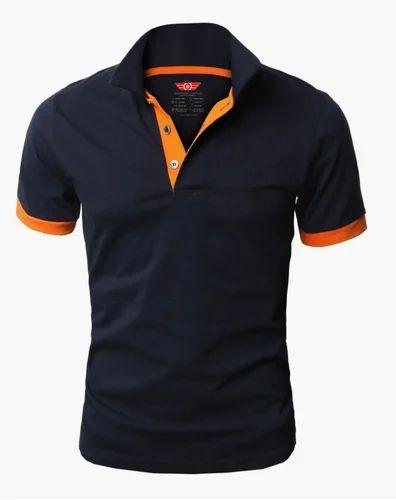 9d0c19e5 Blue, Orange Cotton Downtown Fashion Mens Polo T Shirt Navy Blue, Rs ...