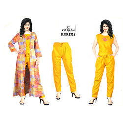 Ladies Cotton Yellow Casual Wear Dress