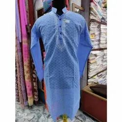Party Wear Embroidered Brasso Fabric Mens Long Kurta