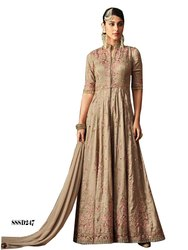 Designer Fancy Fabric Dusty Color Banarsi Silk Suit