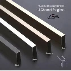 Stainless Steel Golden Finish Glass Railing U Channel