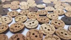 Natural Color Coconut Engrave Button