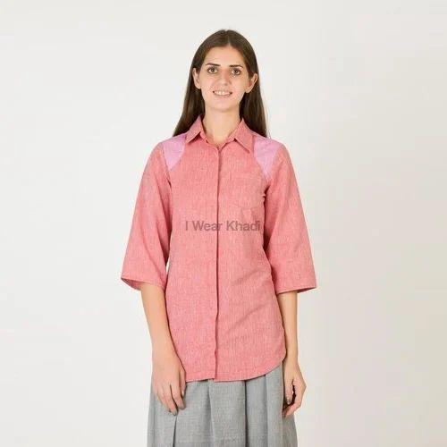 band collar tunic in indian khadi cotton mini checks womens roll tab sleeve shirt with back button detail indigo khadi henley shirt