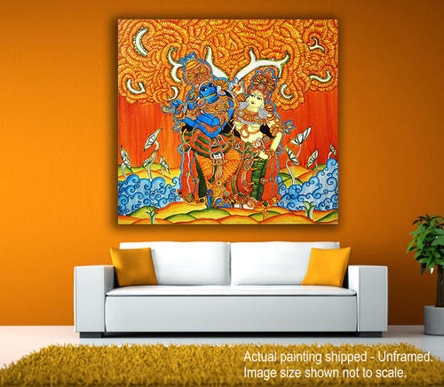 Canvas Printed Traditional Kerala Mural Paintings Shape