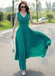 Plain Georgette Westchic Green V-Neck Long Dress, Size: S M L Xl
