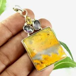 High Quality Solid 925 Sterling Silver Bumble Bee Jasper Gemstone Handmade Fine Pendant Jewelry