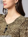 Animal Print Top with Neck Brooch