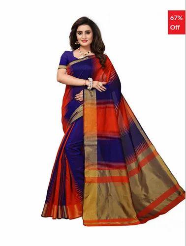 ff868b026e Bhelpuri Blue & Orange Cotton Casual Wear Woven Saree With Blouse Piece