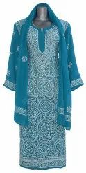 Indian Handicraft Standards Hand Embroidery Lucknowi Chikankaari Georgette Stall Top
