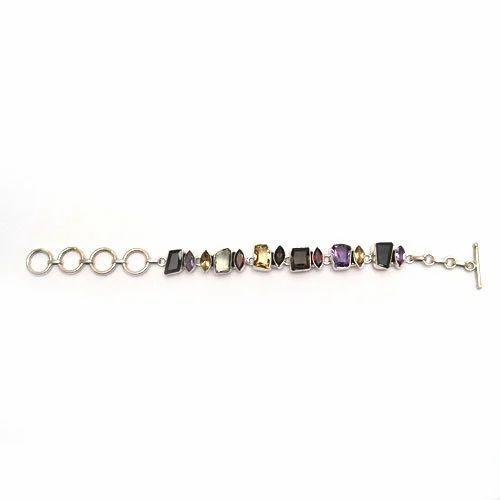 925 Silver Fancy Multi Stone Bracelet