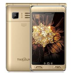 Gold and Black TKEXUN G10 Plus Flip Phone, Dual Screen, Dual SIM, 7500mAh, TV, FM, MP3, SOS, GSM