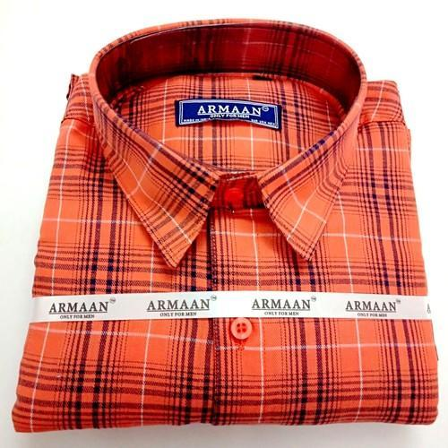 61cd4954 Men's Armaan Orange Check Shirt, Size: M-XL, Rs 400 /piece | ID ...