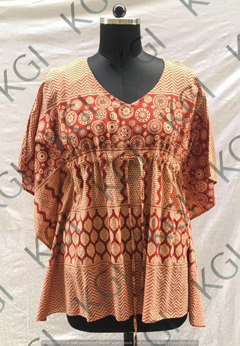 Cotton V-Neck Printed Kaftan