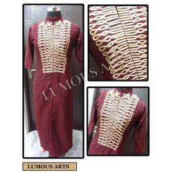 Stitched Chanderi Embroidered kurti, Packaging Type: Box