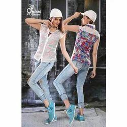 Cotton Formal Ladies Jeans & Top, Size: S , M & L
