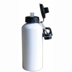 400 ml Aluminum Water Bottle with Two Tops White