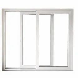 White UPVC Three Track Window, Size/Dimension: 4 X 4.5 Feet, Glass Thickness: 8 Mm