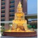 Historical Red Monumental Stone Garden Fountain, For Center Pcs Ht-36