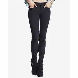 Ladies Black Plain Stretchable Jeans