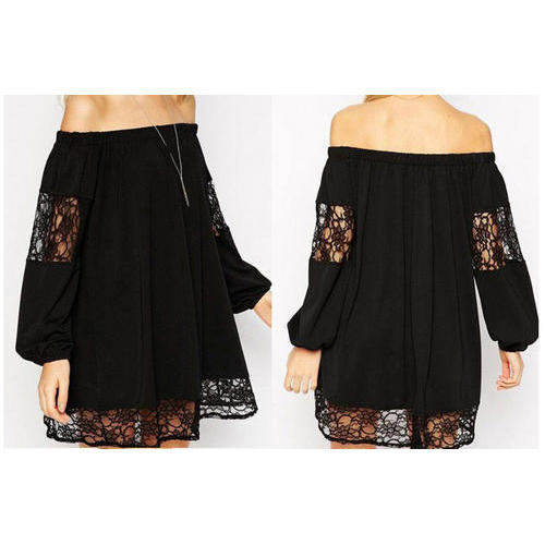 1f53f06b2b74 Black Texture Off Shoulder One Piece Dress