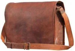 Brown Full Flap Leather Messenger Bag