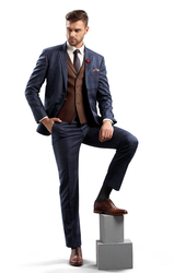 Brown And Blue 2pc Notch Lapel 2 Button Suit