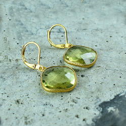 Lemon Quartz Hydro Gemstone Gold Plated Lever Back Earring