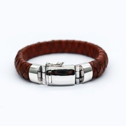 Men's Silver Leather Bracelet