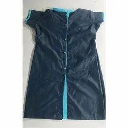 Black and Blue Cotton Front Cut Designer Kurti, Size: S