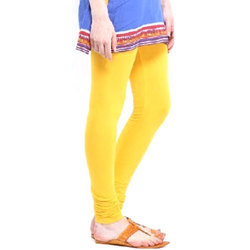 Yellow Churidar Ladies Plain Legging, Size: Small
