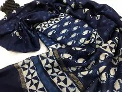 Chanderi Suits With Chanderi Dupatta and Cotton Bottom