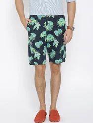 Blue & Multi Cotton Shorts For Men