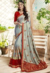 Pearl Grey Embroidered Partywear Saree