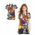 Girls Printed Round Neck T Shirt, Size: S-5xl