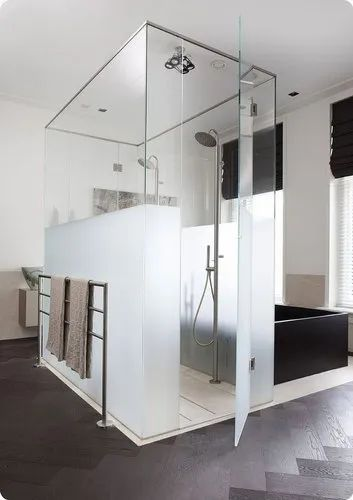 Hinged Rectangular Shower Glass Partition - L-Type Shower ...