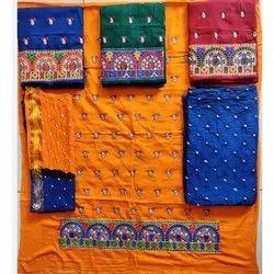 Cotton Ladies Embroidery workUnstitched Salwar Suit, Handwash