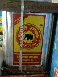 Yellow Hathi Kacchi Ghani Mustard Oil 15kg, Packaging Type: Tin, Packaging Size: 15kgs