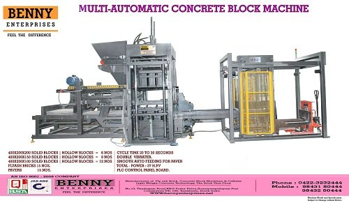 Benny Machines High Quality Concrete Paver Automatic Machine, Capacity: 1500-2000,6/10/15, Model/Type: Bmm 600hv