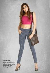 Lycra Cotton Ladies Printed Ankle Length Pant, Size: Xl