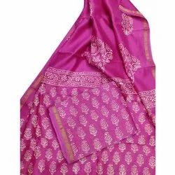 Casual Wear Ladies Printed Pink Cotton Saree, 6.5 m with blouse piece