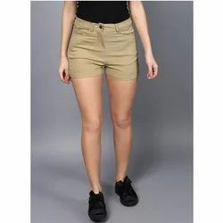 Khaki Color Regular Fit Ladies Drill Mid Rise Shorts