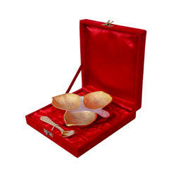 Gold Plated Three Leaf Platter