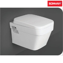 White Closed Front Somany Wall Hung Wc - Krest - (ezee Close Seat Cover)