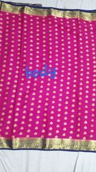 mysore crape Party Wear Crepe Richpallu Allover Butti Contrast Sarees, 6 m (with blouse piece), Size: 6.3 Meter