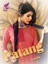 Patang Vol-1 Rayon With Print And Different Type Hand Work Designer Kurtis