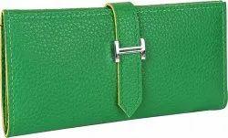 Green Pu Leather Three Fold Buckle Clutch